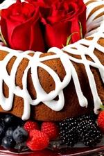 Preview iPhone wallpaper Chocolate cake, cream, red rose, blueberries, raspberries, strawberries