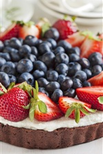 Preview iPhone wallpaper Chocolate cake, strawberries, blueberries, food