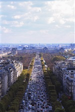 Preview iPhone wallpaper City view of Paris in France, houses, buildings, road, traffic, clouds