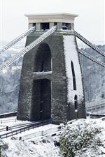 Preview iPhone wallpaper Clifton Suspension Bridge, Bristol, England, winter, snow