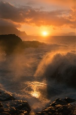 Preview iPhone wallpaper Coast beautiful dawn, sunrise, sea, waves