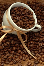 Coffee beans, cup, ribbon