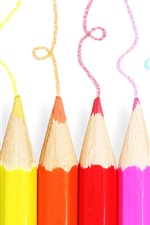 미리보기 iPhone 배경 화면 다채로운 연필, 다른 색, 흰색 배경