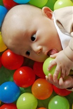 Preview iPhone wallpaper Colorful play balls, joy cute baby