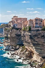 Preview iPhone wallpaper Corsica, France, houses, sea, coast, cliff, rocks, blue sky