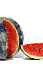 Preview iPhone wallpaper Creative pictures, Earth, watermelon