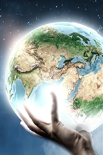 Preview iPhone wallpaper Creative pictures, a hand hold the Earth