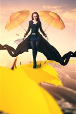 Preview iPhone wallpaper Creative pictures, girl walks on the umbrellas top