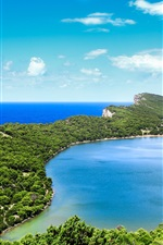 Preview iPhone wallpaper Croatia, Savar, beautiful coast, sea, islands, mountains, blue sky