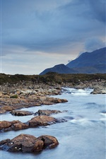 Preview iPhone wallpaper Cuillin, Isle of Skye, Scotland, UK, water, clouds, mountains