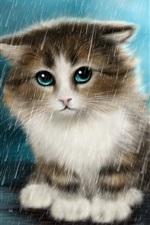 Preview iPhone wallpaper Cute innocent cat in the rain, art drawings