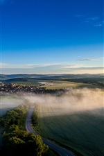 Preview iPhone wallpaper Czech Republic, road, fields, houses, trees, fog, morning