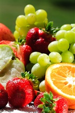 Preview iPhone wallpaper Delicious fruits, oranges, kiwi, grapes, strawberries