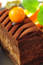 Preview iPhone wallpaper Dessert food, chocolate cake, orange slice