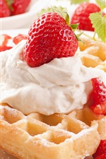 Preview iPhone wallpaper Dessert, sweet food, waffle, cream, strawberry, mint