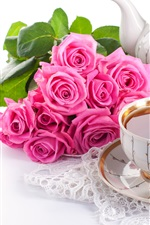 Preview iPhone wallpaper Drinks, tea, pink rose flowers, cake