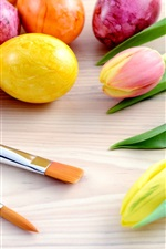 Preview iPhone wallpaper Easter holiday, brushes, colored eggs, tulip flowers