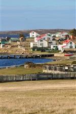 Preview iPhone wallpaper Falkland Islands, houses, pier, sea, UK