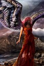 Fantasy girl, angel, wings, rocks, mountains, sea, clouds