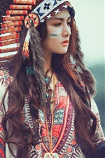 Aperçu iPhone fond d'écranFeathers chapeau fille, aigle, Native American