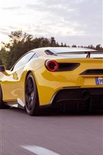 미리보기 iPhone 배경 화면 페라리 488 GTB 노란색 초차 다시보기 및 속도