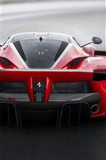 Ferrari FXX K red supercar back view, speed, road