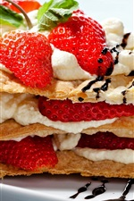 Preview iPhone wallpaper Food, dessert, snack, strawberry, pancake, cream