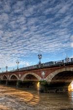 France, Aquitaine, Bordeaux, city, bridge, river, clouds