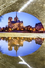 France, Paris, Notre Dame Cathedral, under the bridge, water reflection