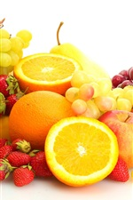 Preview iPhone wallpaper Fresh fruits, grapes, oranges, cherries, strawberries, banana, pears, apples