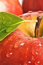 Preview iPhone wallpaper Fresh red apples, leaf, water drops