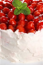 Preview iPhone wallpaper Fruit cake, cream, strawberries, dessert