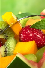 Preview iPhone wallpaper Fruit salad, watermelon, strawberries, kiwi, mango, mint