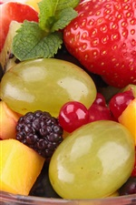 Preview iPhone wallpaper Fruits salad, berries, strawberries, mango, dessert
