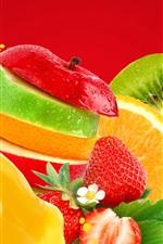 Preview iPhone wallpaper Fruits slices, apple, orange, kiwi, strawberry