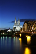 Preview iPhone wallpaper Germany, Cologne, evening, river Rhine, bridge, lights, buildings