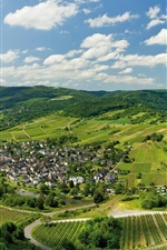 Germany, Mosel, houses, river, fields, trees, mountains, clouds