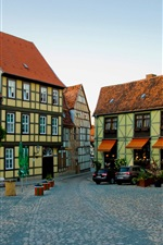 Preview iPhone wallpaper Germany, Quedlinburg, houses, road, cars, coffee bar