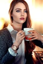 Preview iPhone wallpaper Girl drink cup tea