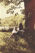 Preview iPhone wallpaper Girl play guitar, music, summer, trees, sunshine