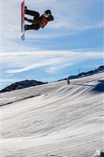 Preview iPhone wallpaper Glacier 3000, snowboard, Switzerland