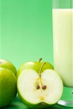 Preview iPhone wallpaper Green apples, fruit drinks