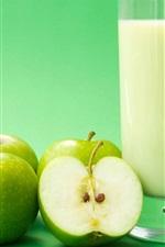 미리보기 iPhone 배경 화면 녹색 사과, 과일 음료
