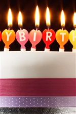 Preview iPhone wallpaper Happy Birthday cake, candles, fire, simple style