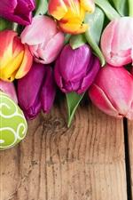 미리보기 iPhone 배경 화면 행복한 부활절, 다채로운 계란, 아름다운 꽃, 튤립, 봄