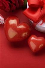 미리보기 iPhone 배경 화면 해피 발렌타인 데이, 사랑의 마음, 선물, 촛불, 붉은 스타일
