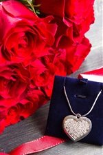 Preview iPhone wallpaper Happy Valentine's Day, romantic, red roses, diamond necklace