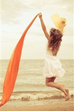 Preview iPhone wallpaper Happy girl jump, mood, white dress, red ribbon, beach, sea