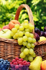 Preview iPhone wallpaper Harvest fruits, cherries, berries, apples, pears, plums, peaches, grapes