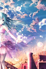 Preview iPhone wallpaper Hatsune Miku, blue hair anime girl, fantasy world